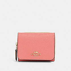 COACH 37968 Small Trifold Wallet IM/BRIGHT CORAL