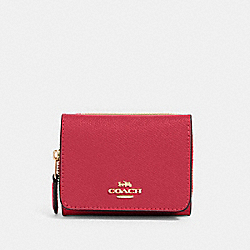 COACH 37968 Small Trifold Wallet IM/ELECTRIC PINK
