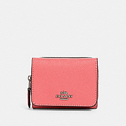 COACH 37968 Small Trifold Wallet QB/PINK LEMONADE