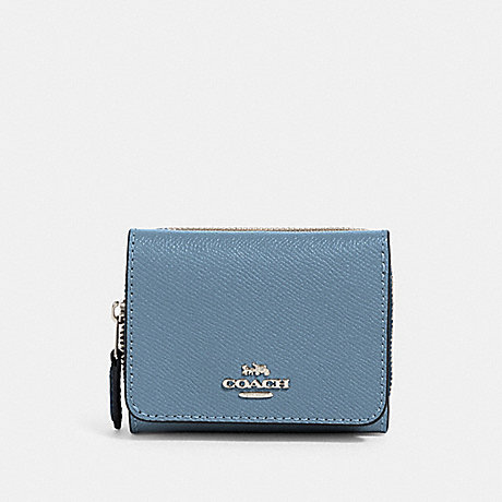 COACH SMALL TRIFOLD WALLET - SV/SLATE - 37968
