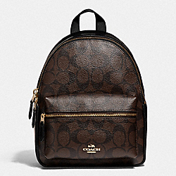 MINI CHARLIE BACKPACK IN SIGNATURE CANVAS - 38302 - IM/BROWN BLACK