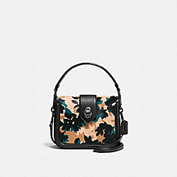 PAGE CROSSBODY IN PRINTED HAIRCALF - 38447 - SCATTERED LEAF/WALNUT MULTI/DARK GUNMETAL
