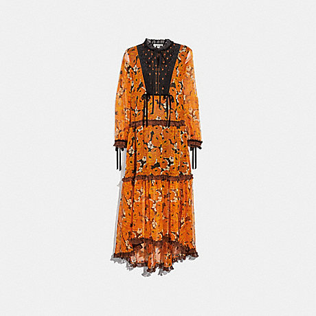 COACH 38505 ROSE PRINT TIERED DRESS ORANGE