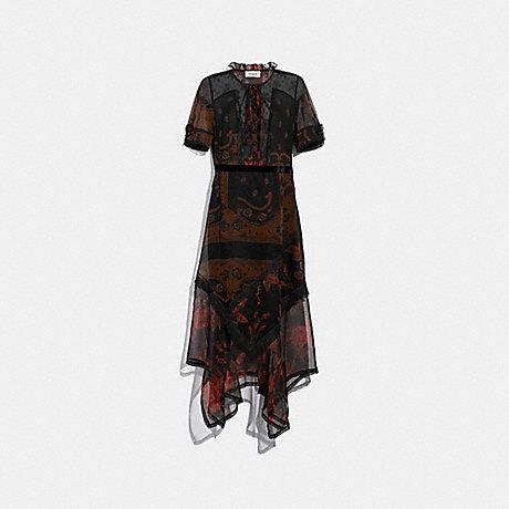COACH 38510 BANDANA PRINT DRESS BROWN