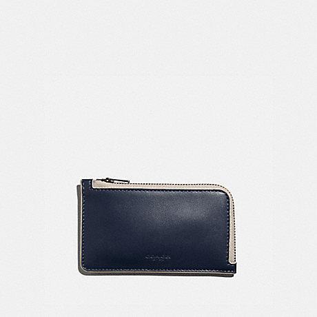 COACH 3856 L-ZIP CARD CASE MIDNIGHT/BONE