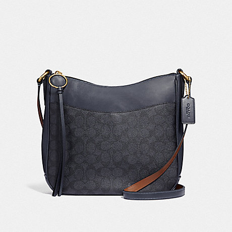 COACH 38579 CHAISE CROSSBODY IN SIGNATURE CANVAS CHARCOAL/MIDNIGHT-NAVY/GOLD