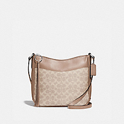 CHAISE CROSSBODY IN SIGNATURE CANVAS - 38579 - SILVER/SAND TAUPE