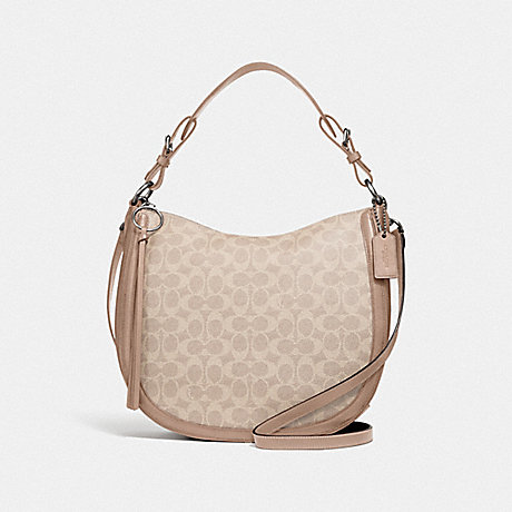 COACH SUTTON HOBO IN SIGNATURE CANVAS - LH/SAND TAUPE - 38580