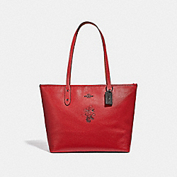 COACH 38621 - MINNIE MOUSE CITY ZIP TOTE WITH MOTIF 1941 RED/DARK GUNMETAL
