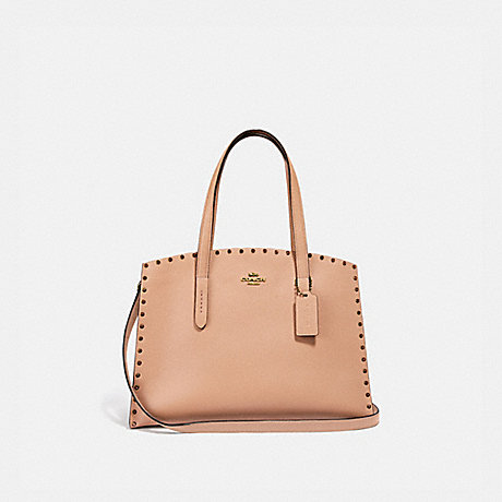 COACH 38629 CHARLIE CARRYALL WITH CRYSTAL RIVETS NUDE PINK/BRASS