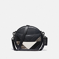 COACH 38668 - CANTEEN CROSSBODY WITH PATCHWORK AND SNAKESKIN DETAIL BLACK MULTI/PEWTER