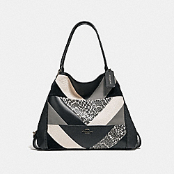 COACH 38672 - EDIE SHOULDER BAG 31 WITH PATCHWORK AND SNAKESKIN DETAIL V5/BLACK MULTI