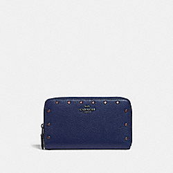 COACH 38868 - MEDIUM ZIP AROUND WALLET WITH CRYSTAL RIVETS CADET/GUNMETAL