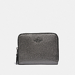 COACH 38872 Small Zip Around Wallet GM/METALLIC GRAPHITE