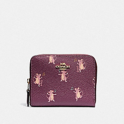 COACH 38907 - SMALL ZIP AROUND WALLET WITH PARTY MOUSE PRINT DARK BERRY/GOLD