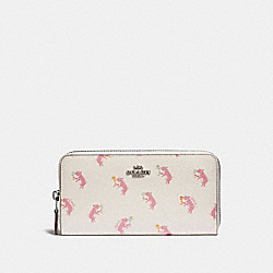 COACH 38909 Accordion Zip Wallet With Party Pig Print SV/CHALK