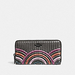 COACH 38910 Accordion Zip Wallet With Colorblock Deco Quilting And Rivets GM/METALLIC GRAPHITE MULTI