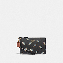 COACH 38924 Small Wristlet With Party Owl Print BLACK/GOLD