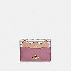 COACH 38925 - CARD CASE WITH PIG ROSE/GOLD