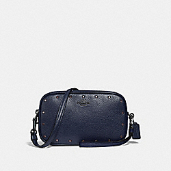 COACH 38931 - SADIE CROSSBODY CLUTCH WITH CRYSTAL RIVETS CADET/GUNMETAL