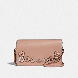 HAYDEN FOLDOVER CROSSBODY CLUTCH WITH CRYSTAL TEA ROSE - 38970 - NUDE PINK/GUNMETAL