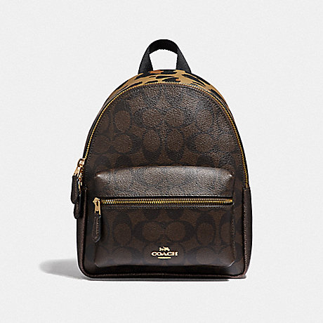 COACH 39034 MINI CHARLIE BACKPACK IN SIGNATURE CANVAS WITH LEOPARD PRINT IM/BROWN MULTI