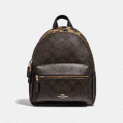 MINI CHARLIE BACKPACK IN SIGNATURE CANVAS WITH LEOPARD PRINT - 39034 - IM/BROWN MULTI