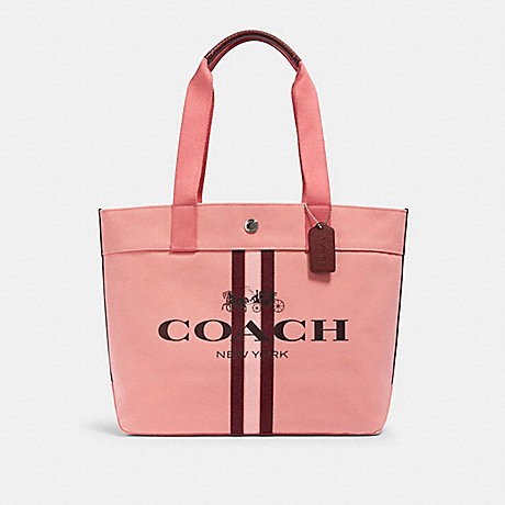 COACH 391 TOTE WITH STRIPE SV/BRIGHT-CORAL