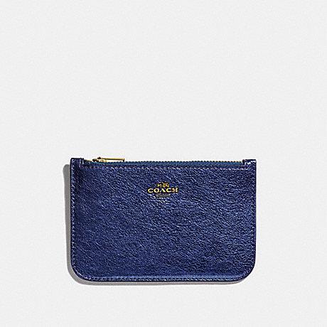 COACH ZIP CARD CASE - GD/METALLIC BLUE - 39243