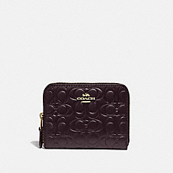 COACH 39254 - SMALL ZIP AROUND WALLET IN SIGNATURE LEATHER GD/OXBLOOD