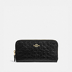 ACCORDION ZIP WALLET IN SIGNATURE LEATHER - 39255 - BLACK/GOLD