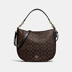 COACH 39527 - ELLE HOBO IN SIGNATURE CANVAS IM/BROWN BLACK
