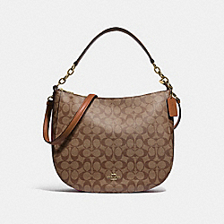 COACH 39527 Elle Hobo In Signature Canvas IM/KHAKI SADDLE 2