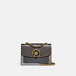 COACH 39680 Parker 18 In Signature Canvas With Rivets And Snakeskin Detail B4/CHARCOAL METALLIC GRAPHITE