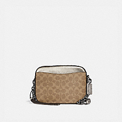 COACH 39684 Camera Bag In Signature Canvas With Rivets And Snakeskin Detail TAN/PLATINUM/PEWTER