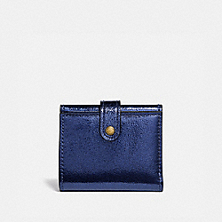 COACH 39707 - SMALL TRIFOLD WALLET METALLIC BLUE/BRASS