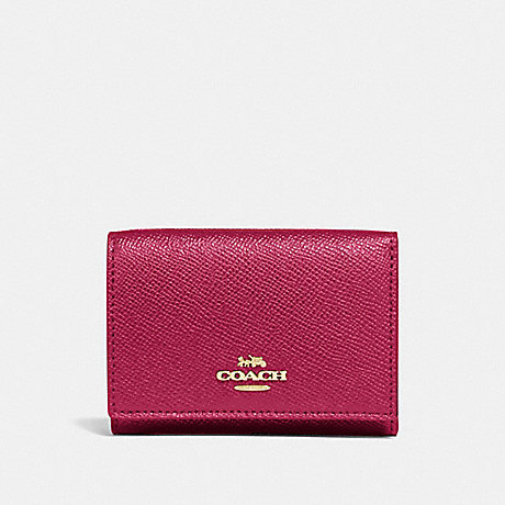 COACH 39737 SMALL FLAP WALLET GD/BRIGHT-CHERRY