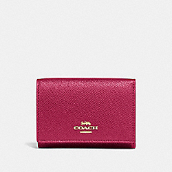 COACH 39737 Small Flap Wallet GD/BRIGHT CHERRY