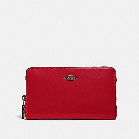 COACH 39738 CONTINENTAL WALLET GUNMETAL/RED APPLE