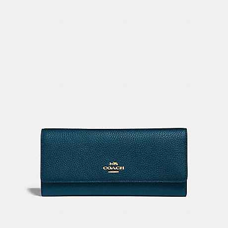 COACH 39745 SOFT TRIFOLD WALLET PEACOCK/GOLD