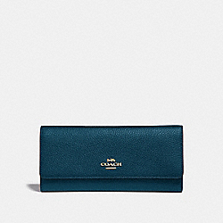 COACH 39745 - SOFT TRIFOLD WALLET PEACOCK/GOLD