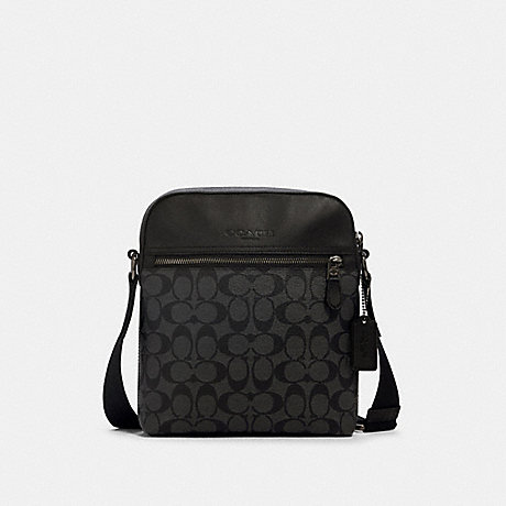 COACH 4010 HOUSTON FLIGHT BAG IN SIGNATURE CANVAS QB/CHARCOAL/BLACK