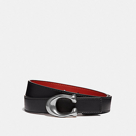 COACH 40119 SCULPTED SIGNATURE REVERSIBLE BELT BLACK/1941 RED/NICKEL