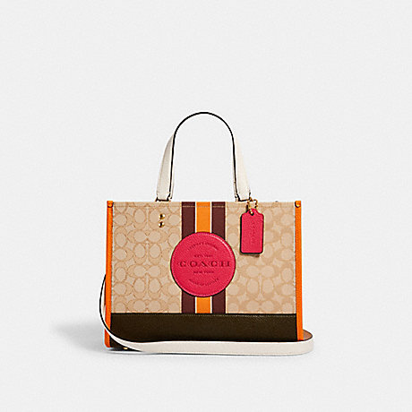 COACH DEMPSEY CARRYALL IN SIGNATURE JACQUARD WITH STRIPE AND COACH PATCH - IM/LT KHAKI ELECTRIC PINK - 4113
