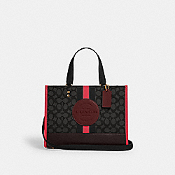 DEMPSEY CARRYALL IN SIGNATURE JACQUARD WITH STRIPE AND COACH PATCH - 4113 - IM/BLACK WINE MULTI