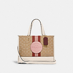 COACH 4113 Dempsey Carryall In Signature Jacquard With Stripe And Coach Patch IM/LT KHAKI/POWDER PINK MULTI