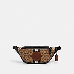 WARREN BELT BAG IN SIGNATURE JACQUARD WITH STRIPE AND COACH PATCH - 4119 - QB/KHAKI MULTI
