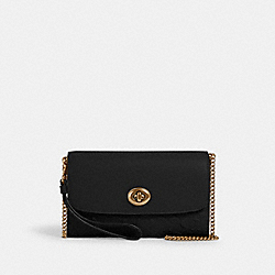 CHAIN CROSSBODY IN SIGNATURE LEATHER - 4126 - IM/BLACK