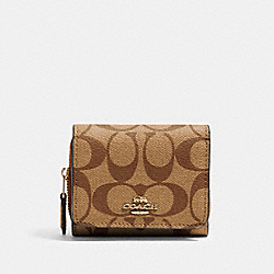 COACH 41302 Small Trifold Wallet In Signature Canvas IM/KHAKI BLOSSOM