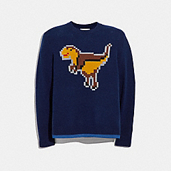 COACH 41356 Pixel Rexy Intarsia Sweater NAVY